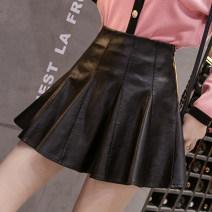 skirt Spring 2021 S,M,L,XL black Short skirt Versatile High waist Umbrella skirt Solid color Type A 18-24 years old G-9 51% (inclusive) - 70% (inclusive) PU Zipper, stitching