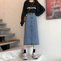 skirt Summer 2021 S,M,L,XL blue longuette commute High waist Denim skirt Solid color Type A 18-24 years old G 30% and below Denim cotton pocket Korean version