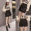 skirt Spring 2021 S,M,L,XL,2XL Black, yellow, blue Short skirt commute High waist A-line skirt Solid color Type A 18-24 years old 71% (inclusive) - 80% (inclusive) other PU Korean version