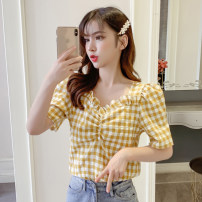 shirt Yellow, black S,M,L,XL Spring 2021 other 81% (inclusive) - 90% (inclusive) Short sleeve commute Regular V-neck Socket puff sleeve lattice 18-24 years old Straight cylinder Korean version K45 Chiffon