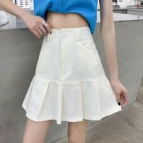 skirt Summer 2021 S,M,L,XL White, pink, black Short skirt Versatile High waist A-line skirt Solid color Type A 18-24 years old J19 Denim fold
