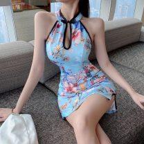 cheongsam Summer 2021 S,M,L blue Short sleeve Short cheongsam daily Big flower 18-25 years old Piping polyester fiber