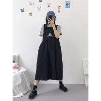Dress Summer 2020 Black, khaki Average size longuette singleton  Sleeveless Sweet Crew neck middle-waisted Cartoon animation Pleated skirt routine Others 18-24 years old Embroidery other