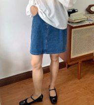 skirt Spring 2021 S,M,L blue Short skirt commute High waist other Solid color Type H More than 95% Denim Button, zipper Simplicity
