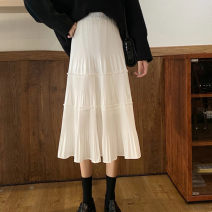 skirt Spring 2020 Average size White, black, apricot, grey Mid length dress commute High waist Cake skirt Solid color Type A 18-24 years old More than 95% Chiffon other Splicing Korean version