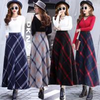 skirt Winter 2020 S,M,L,XL,2XL longuette commute High waist A-line skirt lattice Type A 31% (inclusive) - 50% (inclusive) Wool other Pocket, zipper, print Simplicity