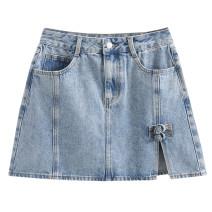 skirt Spring 2021 S,M,L Denim blue, black grey High waist 18-24 years old More than 95%
