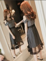 Women's large Summer 2020 Lattice wave point Dress singleton  commute Self cultivation moderate Socket Dot grid Korean version Polyester polyester cotton Three dimensional cutting Myifan / MI Yifan Medium length Pure e-commerce (online only) Hollowing out