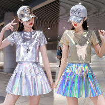 Other suits Spring 2020 Black Silver T-shirt, silver T-shirt, black skirt, pink gold T-shirt, pink skirt, silver skirt, purple skirt S,M,L,XL,XXL Other / other Viscose