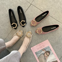 Low top shoes 35 36 37 38 39 40 Butterflies in Jiangnan Sharp point PU Flat bottom Low heel (1-3cm) Shallow mouth PU Spring 2020 Trochanter Korean version Adhesive shoes Youth (18-40 years old) Solid color polyurethane Single shoes Shallow metal decoration PU leisure time Women's