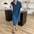 Dress Spring 2020 blue Average size Mid length dress singleton  Short sleeve commute High waist Solid color Single breasted routine 18-24 years old Korean version More than 95% Denim cotton