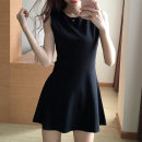 Dress Summer of 2019 black S M L XL 2XL Short skirt singleton  Sleeveless commute Crew neck High waist Solid color zipper 25-29 years old Ibaka YBK6238 More than 95% other Other 100%