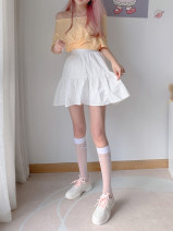 skirt Summer 2021 Average size white Mid length dress Sweet High waist A-line skirt Decor Type A 25-29 years old 2104B1223 More than 95% other polyester fiber