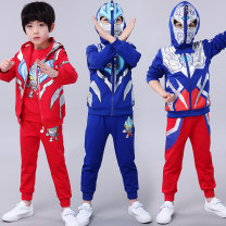suit male spring and autumn motion Long sleeve + pants 2 pieces routine There are models in the real shooting Zipper shirt No detachable cap Cartoon animation Cotton blended fabric children Expression of love Class B Cotton 69.1% polyester 25.6% polyurethane elastic fiber (spandex) 5.3% Spring 2020
