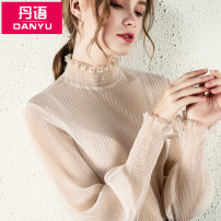 Lace / Chiffon Winter of 2019 Black apricot S M L XL 2XL 3XL Long sleeves commute Socket singleton  easy Regular Lotus leaf collar Solid color bishop sleeve 25-29 years old Dan language DY28835 Auricularia auricula with ruffle Korean version Polyester 100% Pure e-commerce (online only)