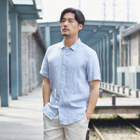 shirt Fashion City Safari S/165 M/170 L/175 XL/180 2XL/185 routine Dress collar (wing collar) Short sleeve easy daily summer youth Flax 100% Business Casual 2018 Solid color Linen Summer of 2018 No iron treatment hemp other Pure e-commerce (online only) More than 95%