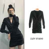 Dress Summer 2020 black XS,S,M,L Short skirt singleton  Long sleeves
