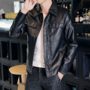leather clothing Jimenglang Youth fashion M L XL 2XL 3XL 4XL routine Imitation leather clothes Lapel Straight cylinder zipper autumn leisure time youth PU tide Cloth hem Save pocket Autumn of 2019 Same model in shopping mall (sold online and offline)