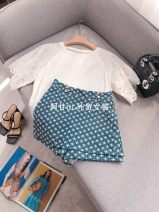 Casual pants blue S,M,L Summer 2021 shorts Wide leg pants High waist Versatile routine 25-29 years old 51% (inclusive) - 70% (inclusive) GANLING cotton Diamond inlay cotton Asymmetry