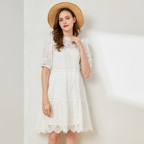 Dress Summer 2021 white S M L Middle-skirt singleton  elbow sleeve Crew neck Loose waist A-line skirt puff sleeve 25-29 years old Type A Xiangsi'er Hollowing out More than 95% cotton Cotton 100%
