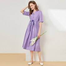 Dress Summer 2021 violet M L XL longuette singleton  Short sleeve commute V-neck High waist Solid color Socket A-line skirt routine 25-29 years old Type A Xiangsi'er Button More than 95% other Other 100% Pure e-commerce (online only)