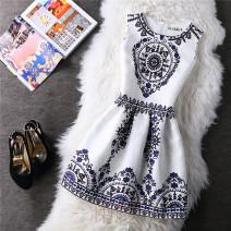 Dress Summer 2020 S,M,L,XL,2XL Middle-skirt singleton  Sleeveless Sweet Crew neck middle-waisted zipper A-line skirt other straps 18-24 years old Type A Fold, zipper, print princess