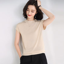 T-shirt Black apricot S M L XL Summer 2021 Short sleeve Crew neck Straight cylinder Regular routine commute other 96% and above Solid color Modern cat M3006-2021167 Other 100% Pure e-commerce (online only)
