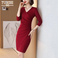 Dress Spring 2021 M L XL XXL XXXL Middle-skirt singleton  three quarter sleeve commute V-neck middle-waisted Solid color zipper One pace skirt routine Others 30-34 years old Type H Yuechi Korean version Pleated zipper 31% (inclusive) - 50% (inclusive) other nylon Pure e-commerce (online only)
