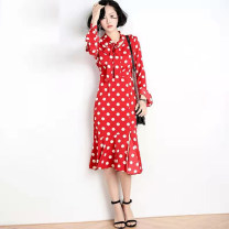 Dress Summer 2021 longuette singleton  Long sleeves commute other High waist Dot Condom other routine Others 25-29 years old Type A Sofa ethnic style Lotus leaf edge 632821 More than 95% other polyester fiber S,L Red and white wave point