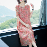 Dress Summer of 2019 M,L,XL,2XL,3XL,4XL Mid length dress singleton  Short sleeve commute Crew neck Loose waist Decor Socket other routine Others 35-39 years old Type H lady 31% (inclusive) - 50% (inclusive) Silk and satin silk