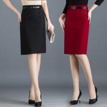 skirt Spring 2021 M,L,XL,2XL,3XL Black, jujube Mid length dress Versatile High waist skirt Solid color Type X 25-29 years old