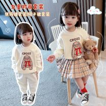 suit Other / other 2-piece casual pants and 2-piece plaid skirt 80cm,90cm,100cm,110cm,120cm,130cm spring and autumn Korean version 2 pieces routine There are models in the real shooting Socket nothing Cartoon animation cotton Expression of love