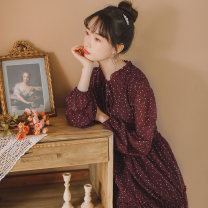 Dress Spring 2020 claret S,M,L Middle-skirt singleton  Long sleeves commute Crew neck High waist Broken flowers Socket A-line skirt routine Others 25-29 years old Type A Korean version printing 9168# 31% (inclusive) - 50% (inclusive) Chiffon cotton