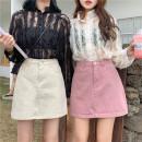 skirt Summer of 2019 S (90-100 Jin), m (100-110 Jin), l (110-120 Jin), XL (120-135 Jin), 2XL (135-150 Jin), 3XL (150-165 Jin), 4XL (165-175 Jin), 5XL [175-200 Jin] Pink, white, black Short skirt commute High waist A-line skirt Type A 18-24 years old Denim Coardiarn / Kuandian Korean version