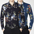 shirt Fashion City 165/80A,170/84A,175/88A,180/92A,185/96A,190/100A routine square neck Long sleeves standard banquet autumn Large size Business Casual 2021 Broken flowers No iron treatment printing Easy to wear