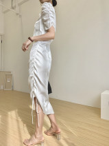Dress Summer 2020 White, black S,M,L longuette singleton  Short sleeve commute Crew neck High waist Solid color Socket Irregular skirt puff sleeve Others Type A court 2020Q331 other cotton