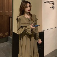 Dress Autumn 2020 Camel, black, collect, add shopping cart to deliver goods first!! longuette singleton  Long sleeves commute Doll Collar Loose waist Solid color Cake skirt pagoda sleeve Type H Retro Ruffles, folds, stitches, bandages