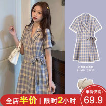Women's large Summer 2021 A checked suit. Dress singleton  Sweet easy moderate Socket Short sleeve lattice V-neck Medium length Three dimensional cutting puff sleeve J4-19CYY6010-A Shu Xinyuan 18-24 years old belt Short skirt Other polyester 95% 5% Pure e-commerce (online only) Irregular skirt straps