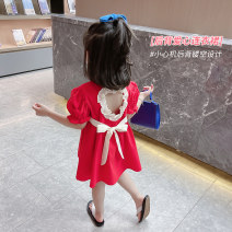 Dress Blue red female Mikir / mikir 90cm 100cm 110cm 120cm 130cm Cotton 95% other 5% summer Korean version Short sleeve Solid color cotton A-line skirt Class A Summer 2021 12 months, 18 months, 2 years old, 3 years old, 4 years old, 5 years old, 6 years old Chinese Mainland Jiangsu Province