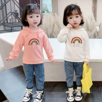 Sweater / sweater Mikir / mikir Orange pink white front jeans orange pink sweater + jeans white sweater + jeans female 80cm 90cm 100cm 110cm 120cm 130cm spring and autumn No detachable cap Korean version Socket routine There are models in the real shooting cotton Cartoon animation Cotton 95% other 5%