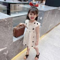 Dress Beige female Mikir / mikir 80cm 90cm 100cm 110cm 120cm 130cm Other 100% summer Korean version Short sleeve Dot cotton A-line skirt X007 Class A Summer 2021 12 months, 18 months, 2 years old, 3 years old, 4 years old, 5 years old, 6 years old Chinese Mainland Jiangsu Province
