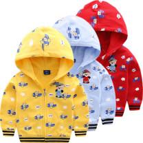 Plain coat Bright bear baby male 90cm 100cm 110cm 120cm 130cm spring and autumn Korean version Zipper shirt Official pictures routine No detachable cap Cartoon animation cotton B1181 Cotton 100%