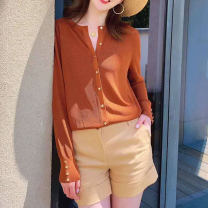 Wool knitwear Summer 2021 Size 2 (s), size 3 (m), size 4 (L), size 5 (XL) Apricot, black, caramel Long sleeves singleton  Cardigan other 31% (inclusive) - 50% (inclusive) Regular Thin money commute Self cultivation V-neck routine Solid color Single breasted O'amash banner