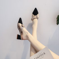 Sandals Apricot, black Suede Other / other Baotou Thick heel Middle heel (3-5cm) Spring 2021 Trochanter Korean version Adhesive shoes Youth (18-40 years old) rubber daily Back space Low Gang Hollow Microfiber skin Microfiber skin Baotou sandals Frosting