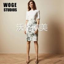 Dress Summer 2020 white 0,1,2,3,4,5 Middle-skirt singleton  Short sleeve commute Crew neck High waist Decor Socket Pencil skirt routine Others Type A More than 95% polyester fiber