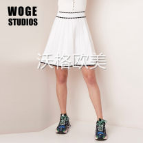 skirt Summer of 2019 1,2,3 white Short skirt commute High waist Pleated skirt Solid color Type A J30291E 51% (inclusive) - 70% (inclusive) knitting Viscose Pleat, fold, thread, splice