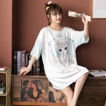 Nightdress Yao Ting Average size Cartoon Middle sleeve pajamas summer Cartoon animation youth Crew neck Iced silk 2273 cute bear Summer 2021 Polyester 95% polyurethane elastic fiber (spandex) 5% Pure e-commerce (online only)