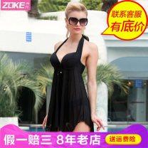 Split swimsuit Zoke / zhouke Skirt split swimsuit Steel strap breast pad Nylon, spandex