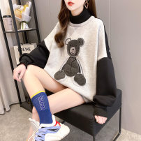 Sweater / sweater Winter 2020 White, gray M,L,XL Long sleeves Medium length Socket singleton  Plush Crew neck easy commute routine 18-24 years old 96% and above other 173#4057 printing