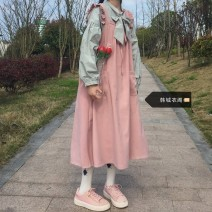 Fashion suit Autumn 2020 S,M,L,XL White shirt (single piece), green shirt (single piece), pink vest skirt (single piece) 18-25 years old Other / other